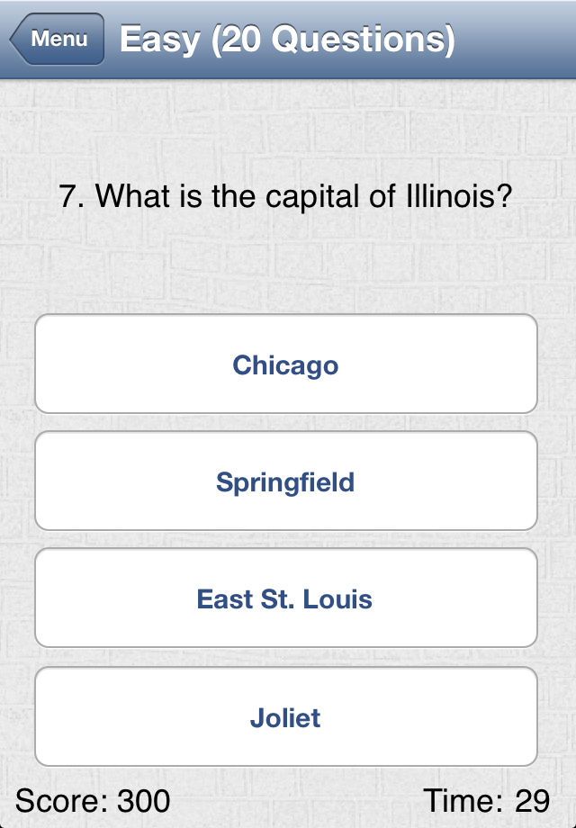 Screenshot U.S. Geography Challenge
